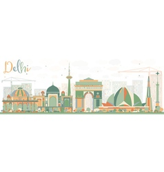 Abstract Delhi Skyline with Color Buildings vector image vector image