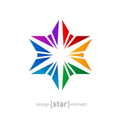 Abstract rainbow star design element on white vector image