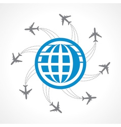 Airplanes flying around the world vector