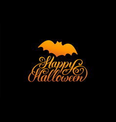 Bat with happy halloween vector