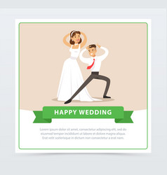 Bride in white wedding dress and groom dancing vector