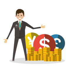 Businessman with coins flat character human vector