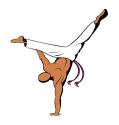 Capoeira dancer icon cartoon vector