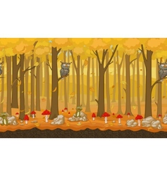 Cartoon autumn seamless forest background vector image vector image