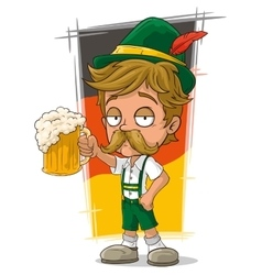 Cartoon little bavarian with hat and beer vector