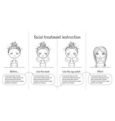 cute facial treatment monochrome 4th steps vector image