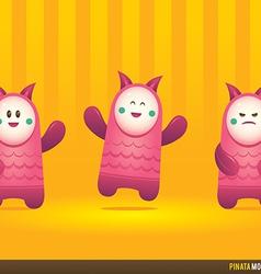 Cute pink pinata monsters vector