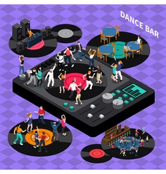 Dance club bar isometric composition poster vector