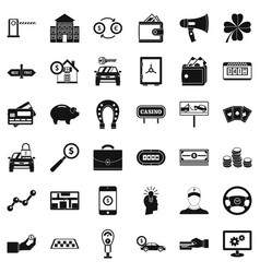 Exchange icons set simple style vector