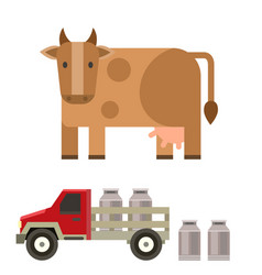 Farm cow and bull nature vector