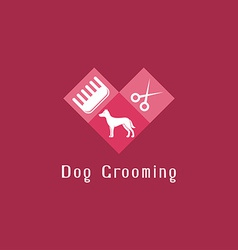 Flat pet grooming logo with dog vector