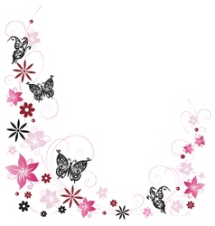Flowers with butterflies vector image vector image