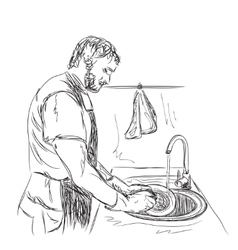 Man washes dishes Hand drawn sketch vector image