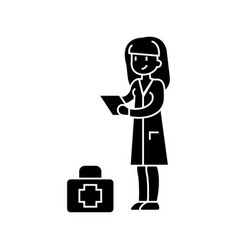 nurse icon black sign on vector image