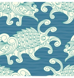 pattern with koi carp vector image vector image