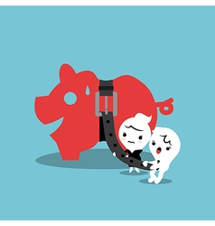 piggy bank with tight belt financial concept vector image