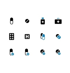 Pills medication duotone icons on white background vector image