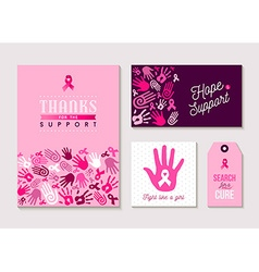 Pink breast cancer design set for awareness vector image vector image