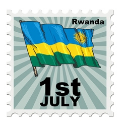 Post stamp of national day of rwanda vector