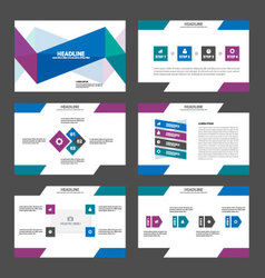 Purple blue presentation templates infographic set vector