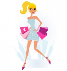 shopping girl in the city vector image vector image
