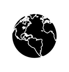 Silhouette globe map world earth business icon vector