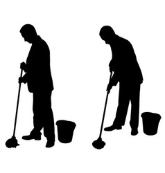 silhouettes of men with mops vector image vector image