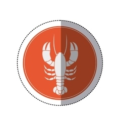 sticker circular border with silhouette crab vector image