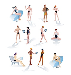 Twelve Swimmers With Technology vector image vector image