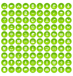 100 eco care icons set green circle vector