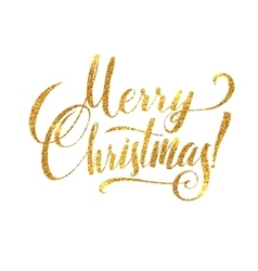 Gold merry christmas card golden shiny glitter vector