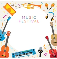 Music instruments objects frame vector