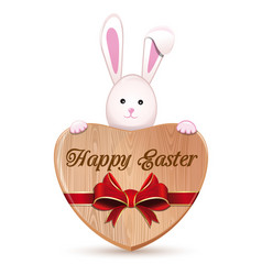 cute easter bunny holding a wooden heart with an vector image