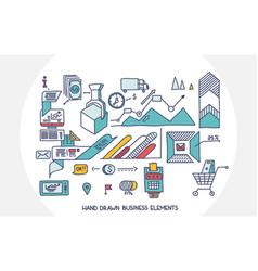 Bank business finance analytics earnings hand draw vector
