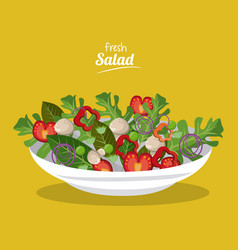 Fresh salad food natural organic image vector