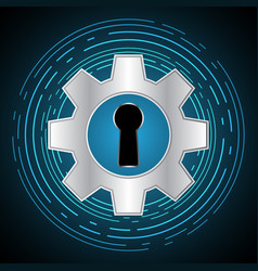 Technology digital cyber security keyhole gear vector