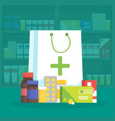 Modern interior pharmacy and drugstore sale of vector