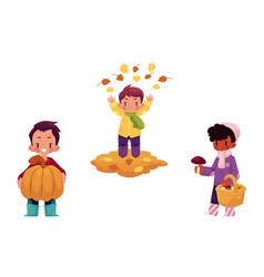 Children doing autumn activity set vector