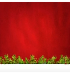 Rip Paper And Retro Red Background And Fir Tree vector image