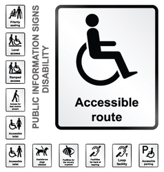 Disability information signs vector