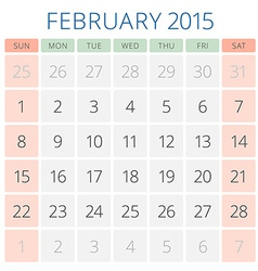 Calendar 2015 february design template vector