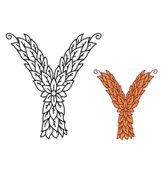 Uppercase letter y in a foliate font vector
