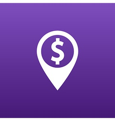 Map pointer with dollar sign icon vector