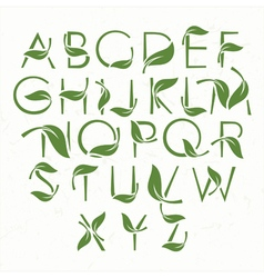 Green eco alphabet vector