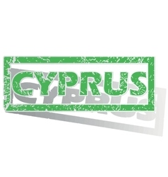Green outlined cyprus stamp vector