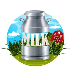 Milk food label with text vector