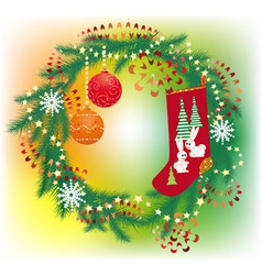 Christmas wreath and socks for gifts vector