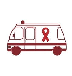 Ambulance world aids day red ribbon vector