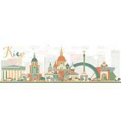 Abstract kiev skyline with color landmarks vector