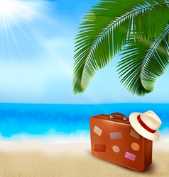 Background with palm tree travel bag vector